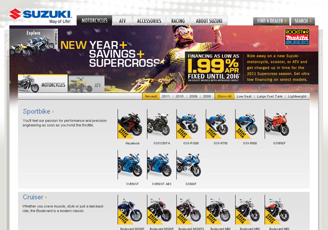 Questus: Suzuki Cycles Product Page