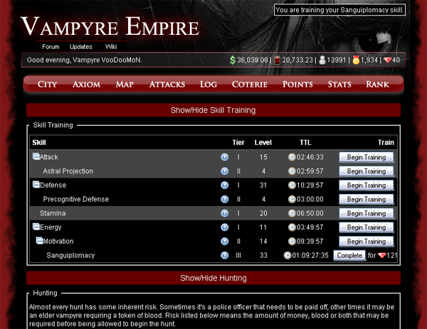 Vampyre Empire Homepage