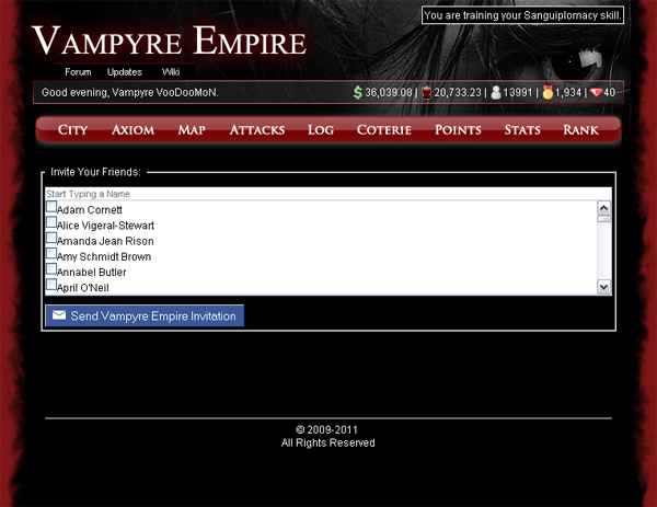 Vampyre Empire Social Interaction